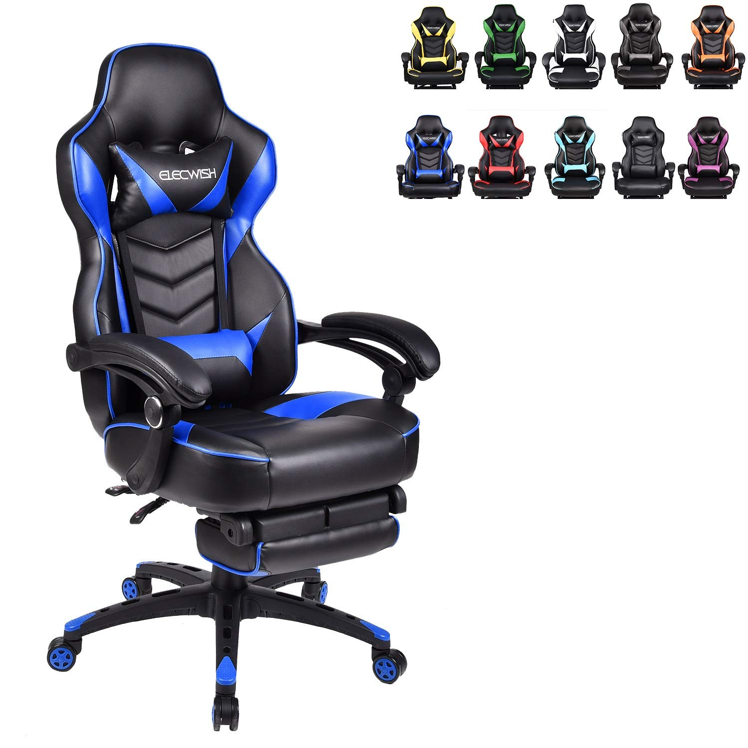 ELECWISH Ergonomic Computer Gaming Chair, PU Leather High Back Office Racing Chairs
