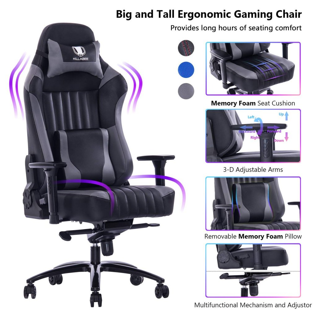 VON RACER Big and Tall 400lb Memory Foam Gaming Chair-Adjustable Tilt