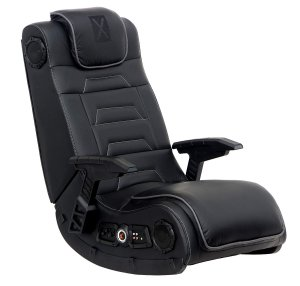 X Rocker Pro Series H3 Black Leather Vibrating Floor Video Gaming Chair